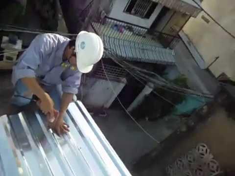 thi công mái tôn nhà dân