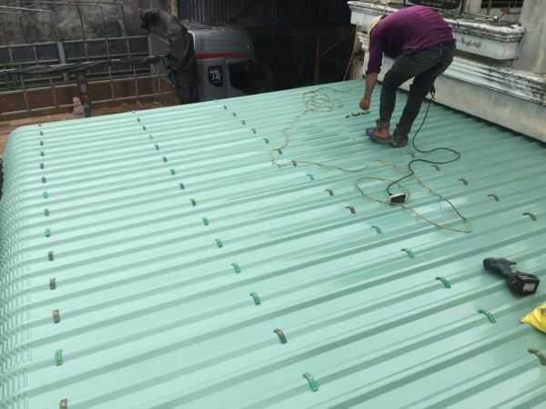 thi công mái tôn chống nóng chống dột