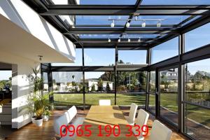 Mái che sân thượng bằng kính thiết kế hiện đại cao cấp
